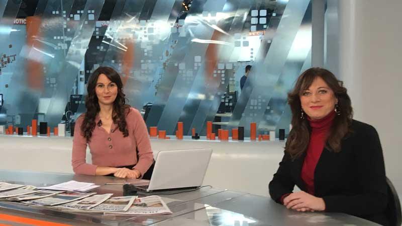 Ana Mancho participando como experta sobre el tema de los niños robados en Aragón Televisión